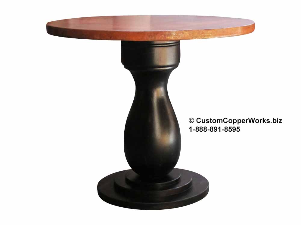Hammered Copper Top Dining Table - 54″ round --  Anna  Distressed Wood Single Pedestal Table Base.