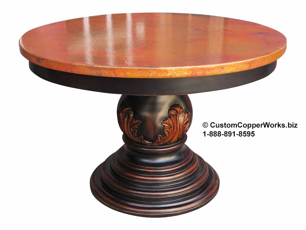 """COPPER TOP ROUND DINING TABLE: 48"""" x 48"""" round copper table top overlaid on Traditional, wood pedestal table base with hand-carved leg design."""