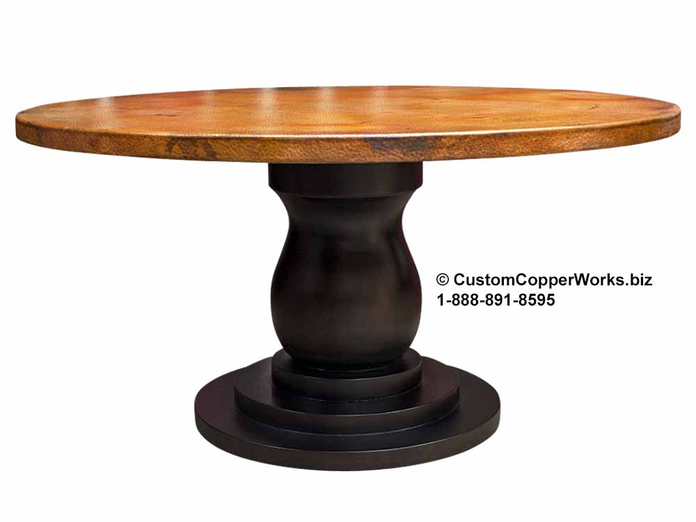 Round Hammered Copper Top Dining Table Mounted on the  Anna  Wood Single Pedestal Table Base;  Tulum  Copper Color Tones.