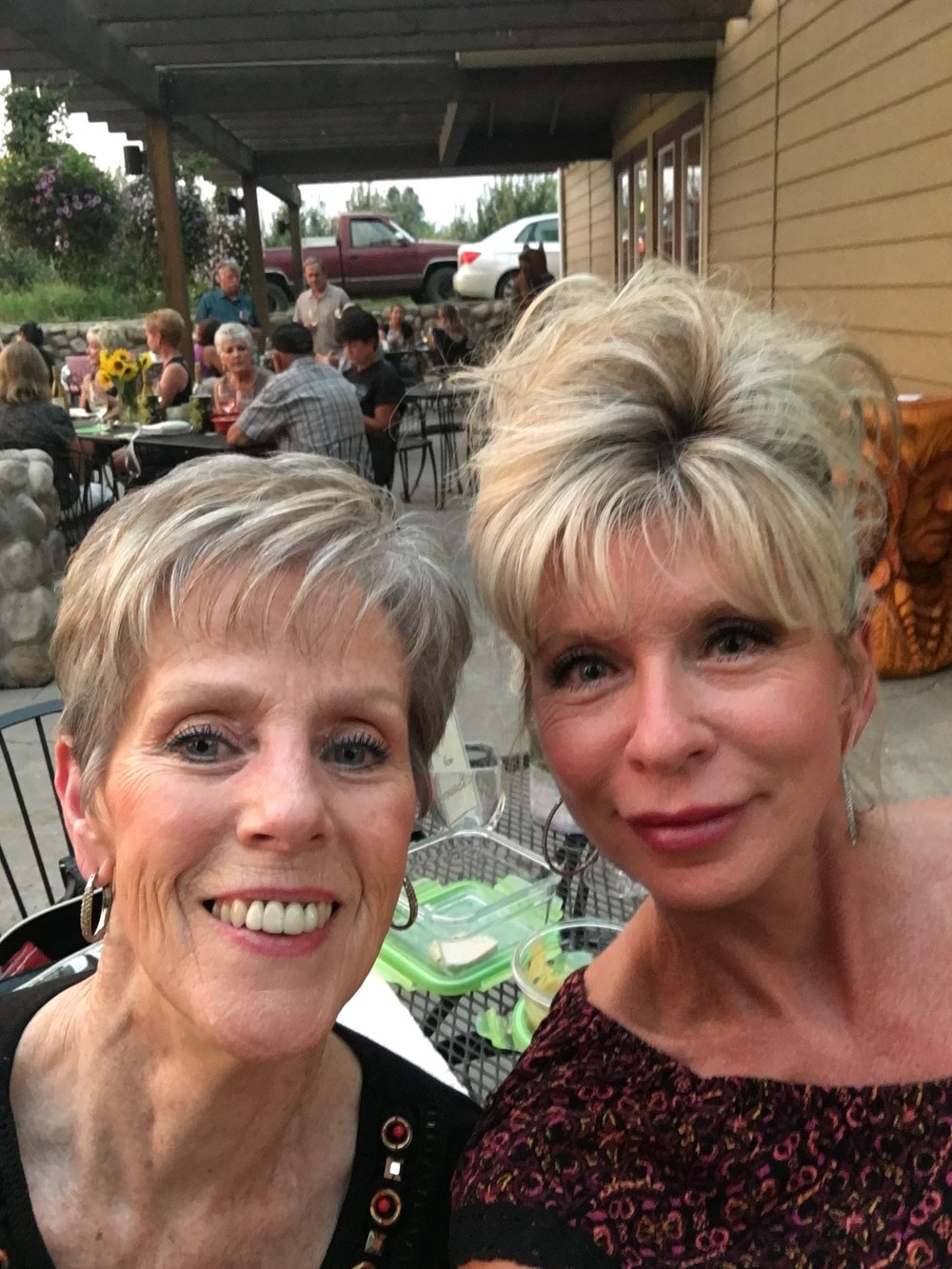 "My girlfriend Cheri, and I at ""Wine Down Wednesday"""