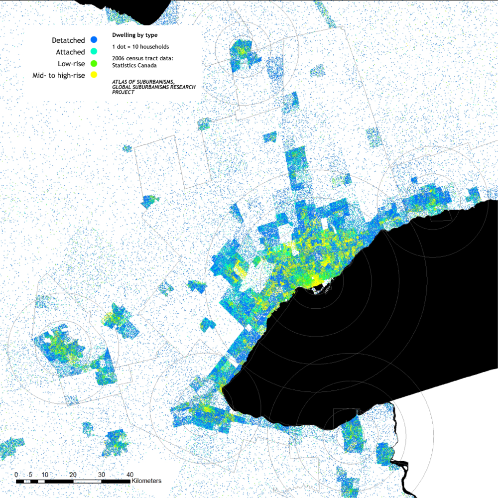 Atlas of Suburbanisms, Greater Golden Horseshoe, Dwelling by type, 2006