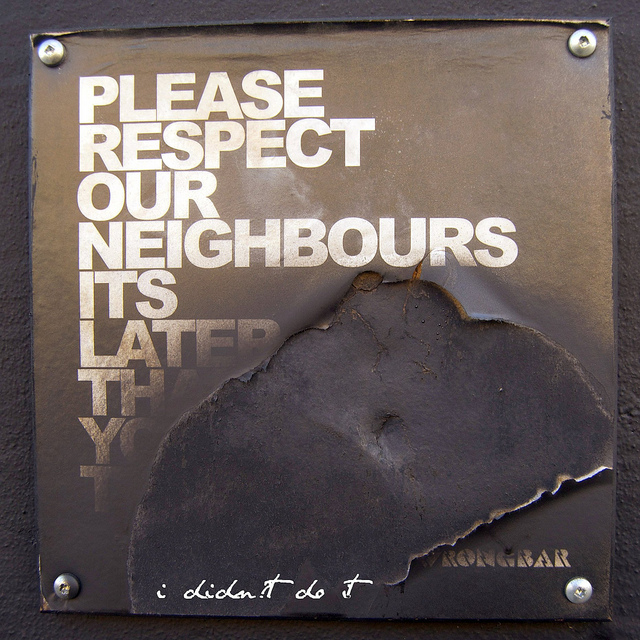 A sign of respect. A vandalised sign at Wrong Bar in Parkdale. Photo credit: marc falardeau