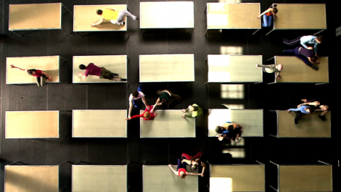 Aerial shot of a William Forsythe work One Flat Thing Reproduced that Strut will be presenting in future.