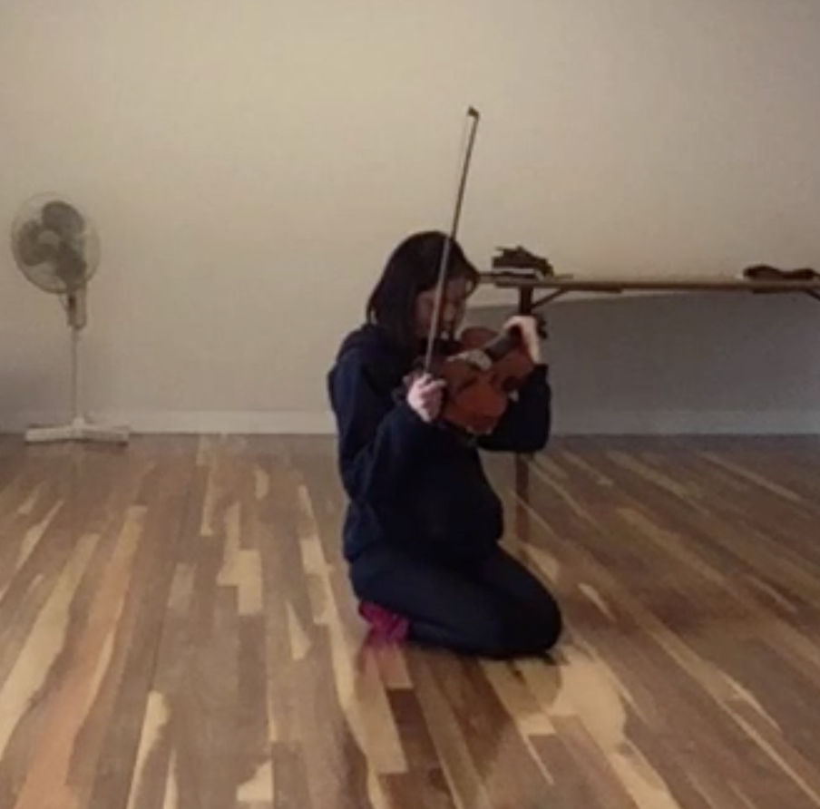 Alina's text was a poem about multidimensional eternal love. Her movement and musical interpretation of this embodied her instrument as the object of that love - such a touching overlay of text, movement and sound.