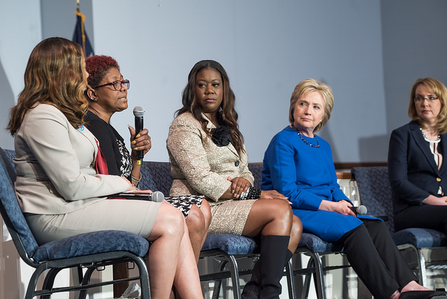 Hillary with the Mothers of the Movement and Gabrielle Giffords in Columbia, SC (image  here )