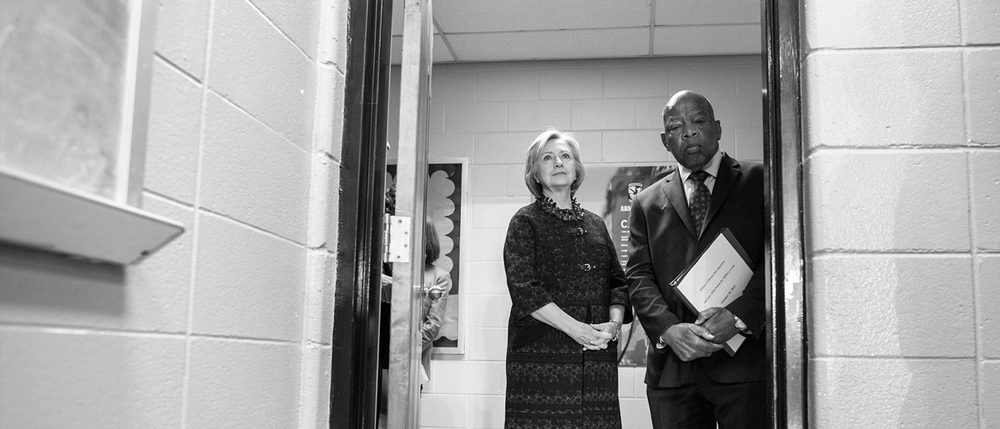 Clinton and civil rights activist and Congressman John Lewis (image located  here )