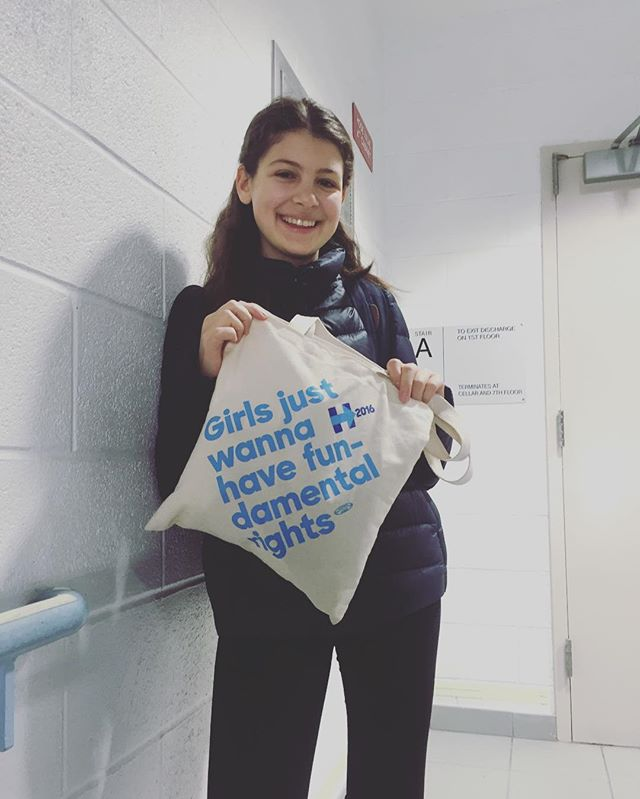High schooler Ava (NY) sports her pro-HRC tote-bag at school. 📷: @ilanabana (NY) #girlsjustwannahavefundamentalrights