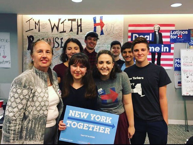 What a squad! New York High School Democrats and #hsforhillary volunteers met Gale Brewer, the Manhattan Borough President, while phone banking at UFT. 📷: @ilanabana (NY) #inittowinit