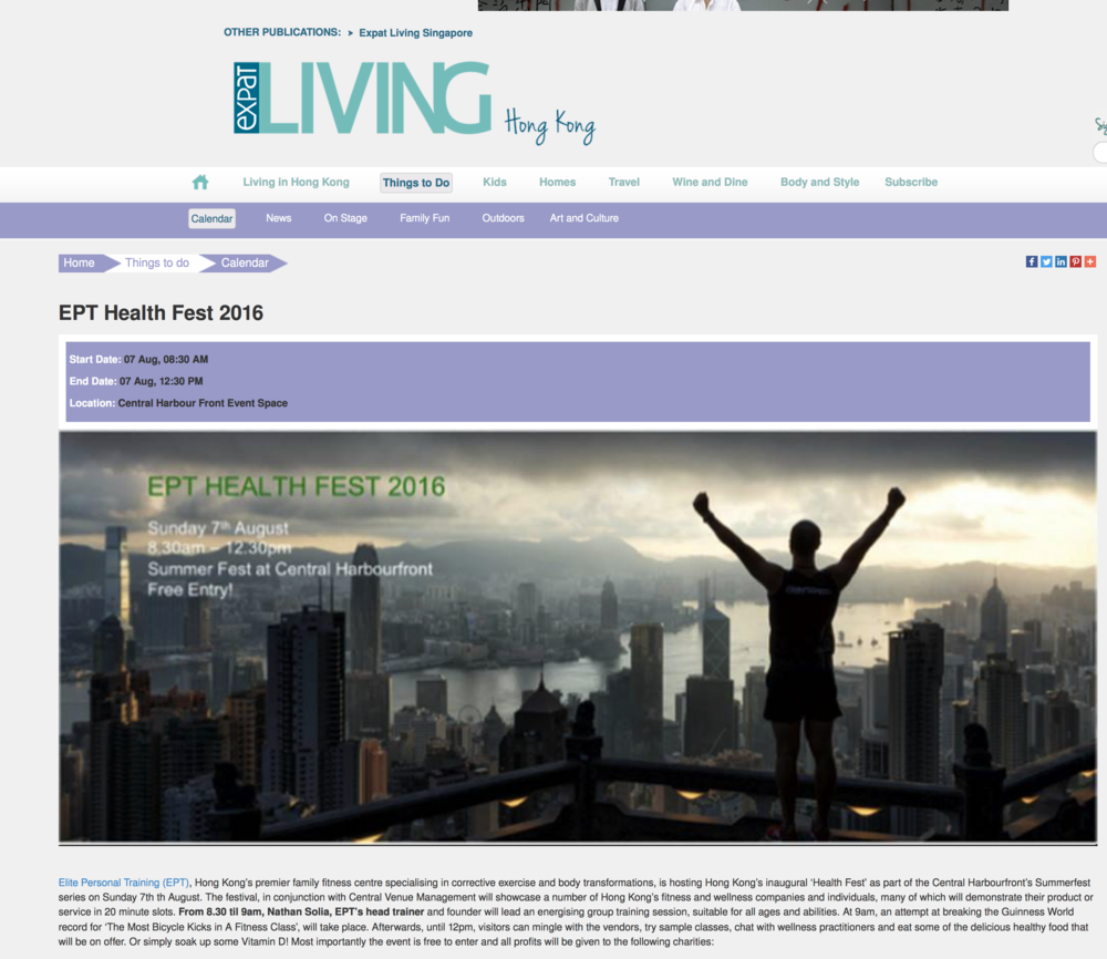Expat Hong Kong Clipping on EPT Health Fest 2016