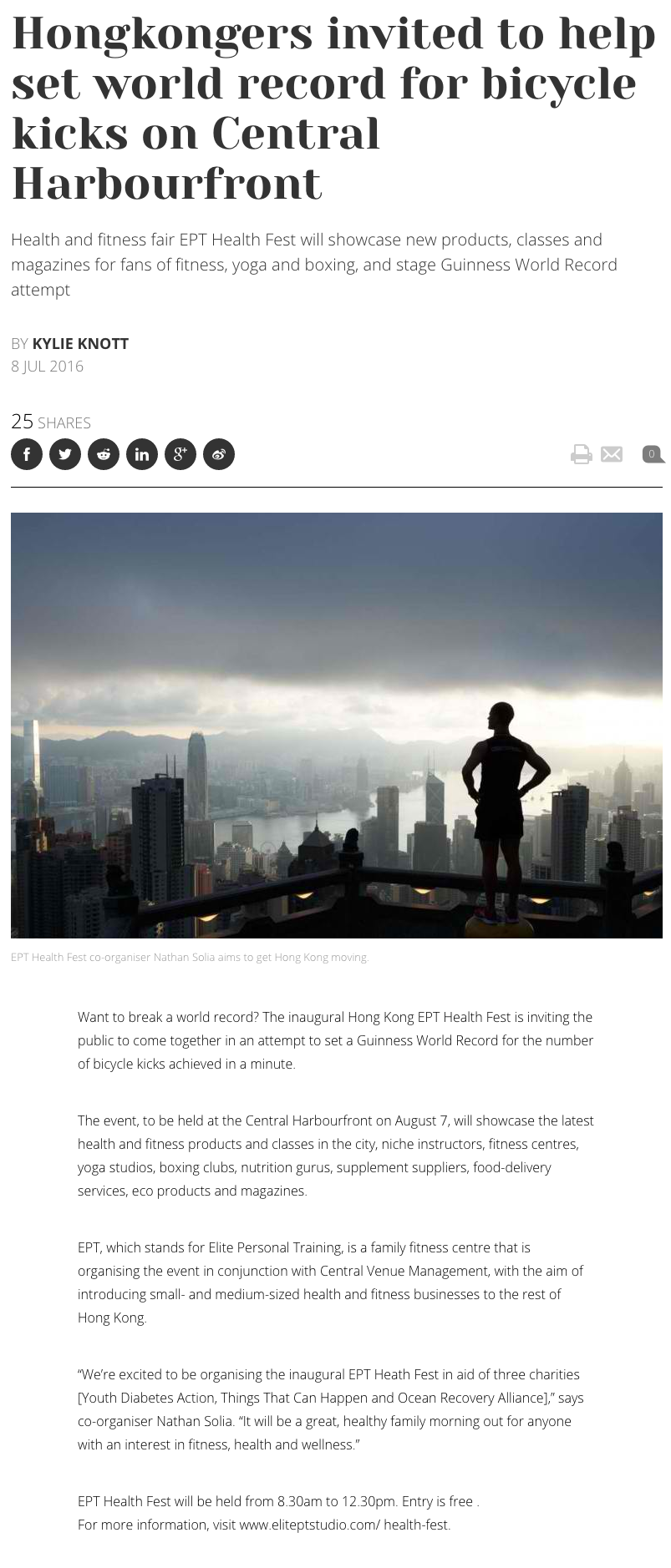 Hongkongers invited to help set world record for bicycle kicks on Central Harbourfront - SCMP Article on EPT Health Fest 2016