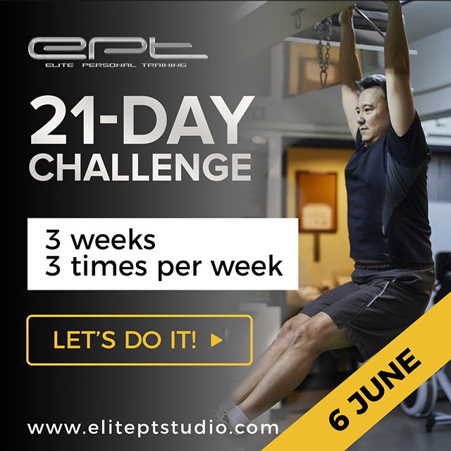 Make the first step to healthier you.  3 weeks, training 3 times a week, 2 x 1hr nutrition session – let's do it! We start on JUNE 6!  Sign up: http://www.eliteptstudio.com/21-day-challenge  #21-daychallenge #hongkongfitness #wongchukhang