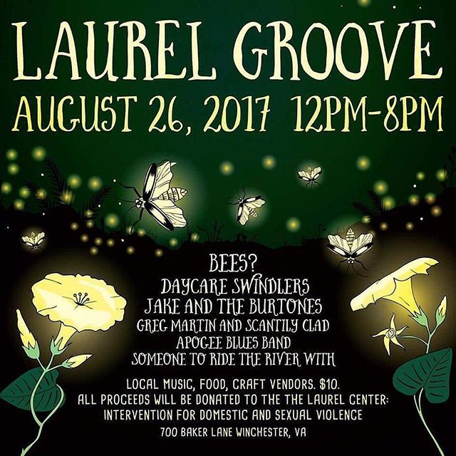 """Come on out to the Laurel groove 2 today in Winchester, we're playing a fundraiser for the Laurel center with some other great bands. Burtones go on at 4pm.  Working together in our community to stop the cycle of domestic and sexual violence. Providing services to domestic and sexual violence survivors in the City of Winchester, Frederick County and Clarke County and to sexual violence survivors in Warren County, we are committed to """"being there"""" when people need us most.  #jakeandtheburtones #oldtime #oldtimemusic #stopdomesticviolence #fuck12 #fuckthatsdelicious #fuckdonaldtrump"""