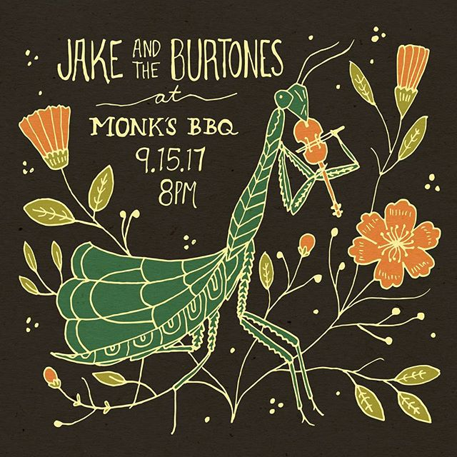 We've got a busy weekend for y'all Monks this Friday! Valley fusion festival Saturday and the bluemont fair Sunday. More details to come. Thanks @brainflowerdesigns  for the doodle.  #jakeandtheburtones #burtones #oldtime #oldtimemusic #galax #fiddle #martinguitar #uprightbass #freetay #freetayk #oprahsbookclub #oprahsbookclub #glockteam #crookedhillary #fuckdonaldtrump #fuck12 #fuckthatsdelicious