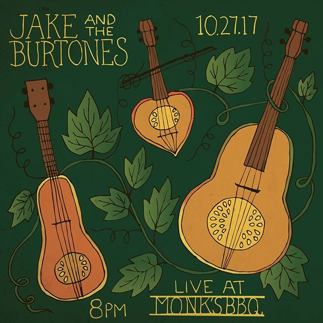 Join us at @monksbbq this Friday evening. 8 sharp. It's gonna be heavy on the fiddle tunes. Thanks to @brainflowerdesigns For the design. #jakeandtheburtones #oldtime #oldtimemusic #fiddlemusic #appalachia #bandforhire #martinguitar #glockteam #oprahsbookclub #oprahswookclub #prop215 #crookedhillary #sauce #bbq #wockhardt #actavis #fuck12 #fuckthatsdelicious #fuckdonaldtrump