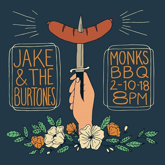 C'mon out to @monksbbq this Saturday evening. Y'all know the deal. 🍖🍖🍖🍻🍻🍻🎻🎻🎻