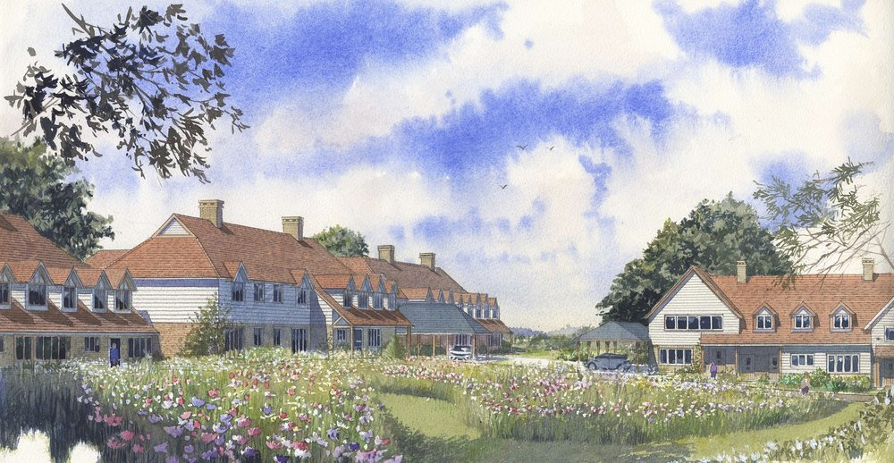 Tenterden - We have recently submitted a planning application for a mixed assisted living and care home scheme for APM, Cognatum and Barchester Healthcare. The sloping site is to the west of Tenterden town centre.The scheme comprises 22 new assisted living units plus a resident managers office, and a 56 bed care home for the frail elderly with specialist provision for dementia patients.A substantial area around some existing badger sets will be left undeveloped, cultivated as a wild flower meadow and safeguarded for the future.