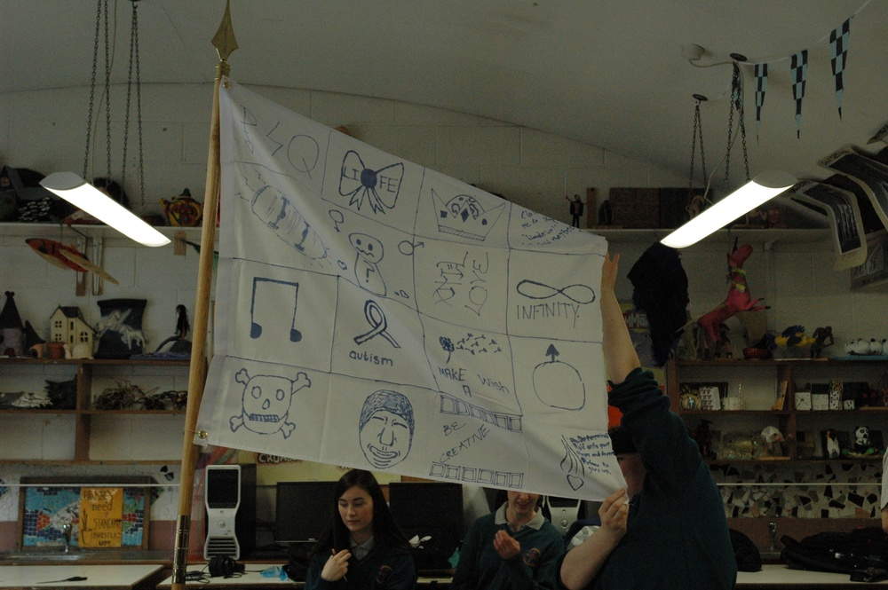 Their unique flag was erected within the classroom