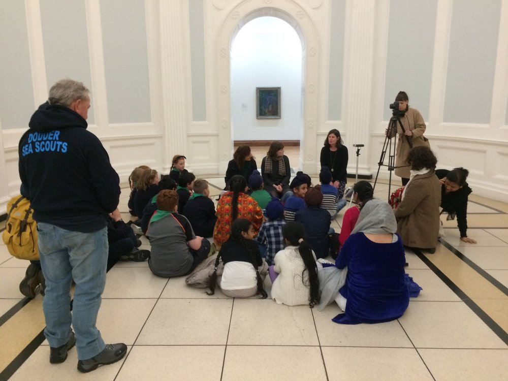 At the end of their tours of artworks at the Hugh Lane Gallery, curators and facilitators gathered the children together to discuss their thoughts on what they had seen.