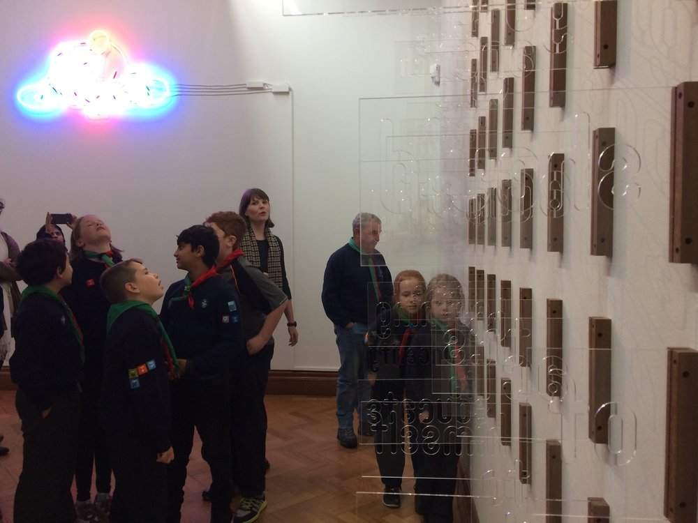 At The Hugh Lane, children were given tours of artworks that touched on themes of communication or light, here they look at Gavin Murphy's work