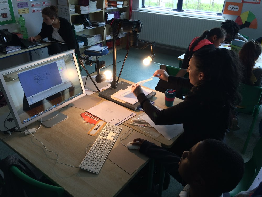 Drawing animation workshop. Each child did 12 drawings to create one-second of an animation.