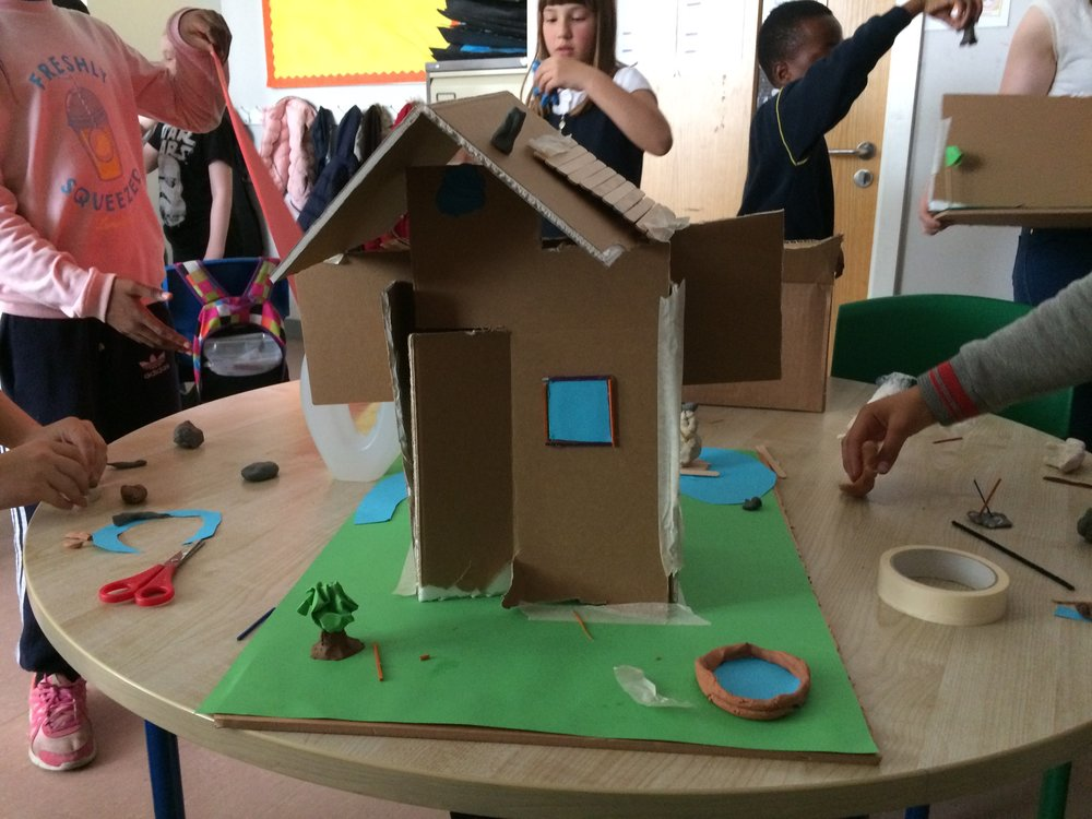 The children created dwellings and figures, which were used for basic stop-motion animations