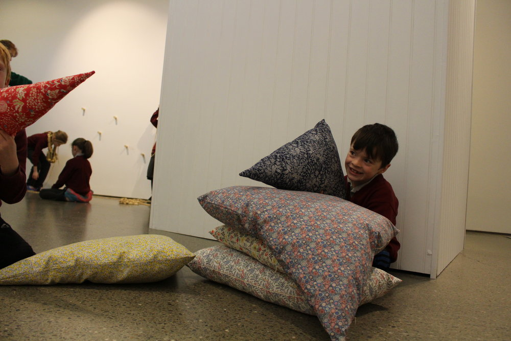 Students experienced some of the 'mobile elements' of Caoimhe Kilfeahter's work, including these cushions