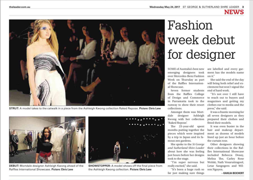 The LEADER News Newspaper Article Featuring ASHLEIGH KWONG At Mercedes Benz Fashion Week Australia 2017