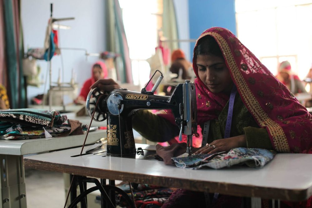 Women of Ladli sewing