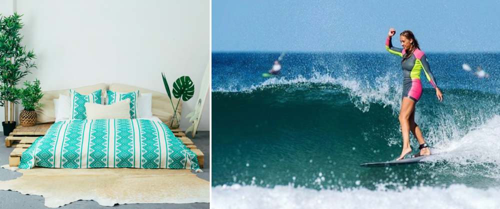 Our  Isla Throw in Mint Green  styled by Evie, and (right) the real-life mermaid gracefully dancing on a wave.