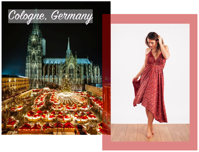 Holly wears the  Carmen Evening Dress in Cinnamon & Gold      ☆     Cologne Christmas Market image via P interest