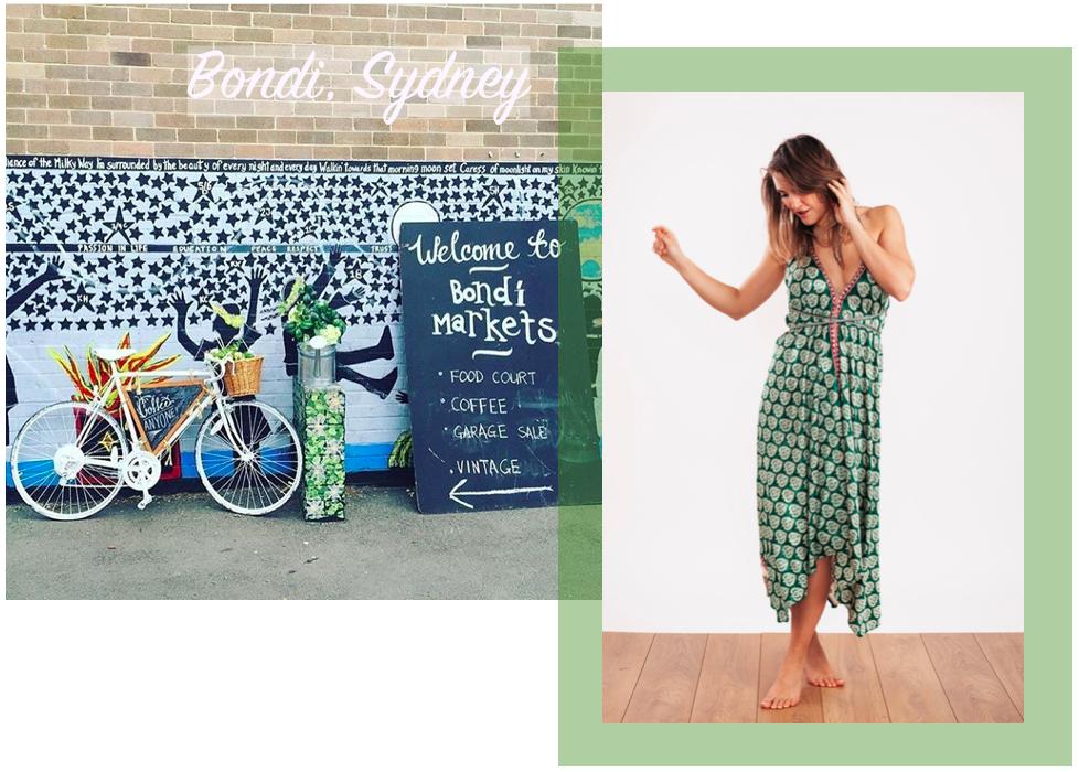 Holly wears the  Carmen Evening Dress in Bottle Green & Gold   ☆  Bondi Market Image via  Bondi Markets