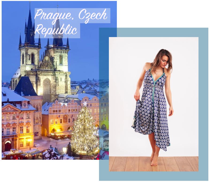 Holly wears the  Carmen Evening Dress in Ocean Blue & Gold    ☆  Christmas Market image via  Pinterest
