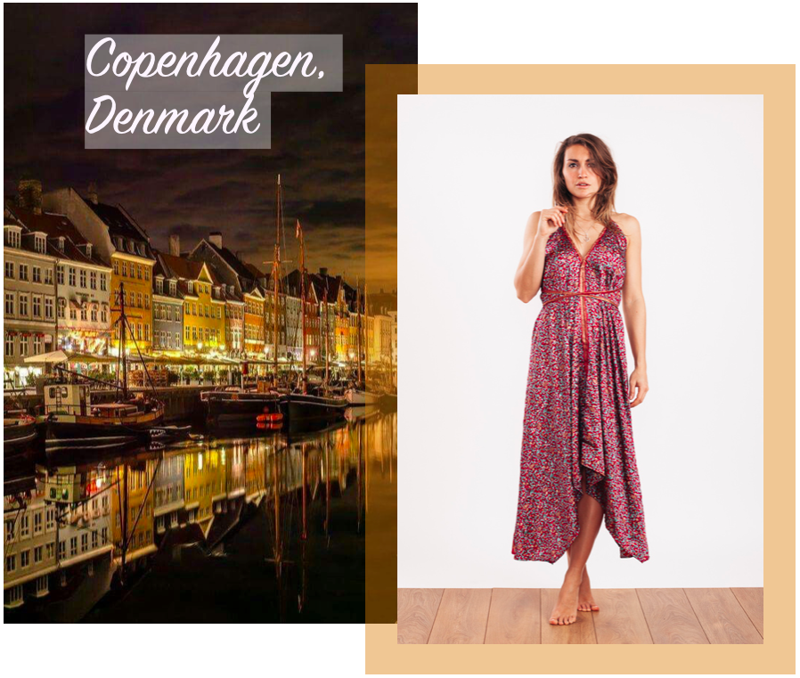 Holly wears the  Luna Evening Dress in Ruby & Gold      ☆     Copenhagen Christmas Market image via  Pinterest