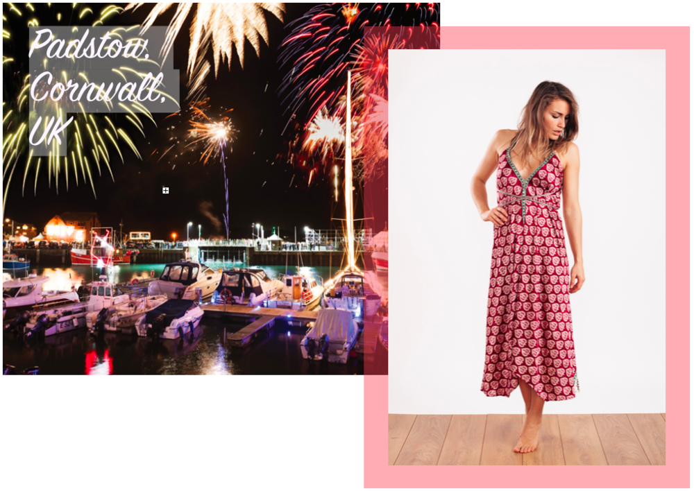 Holly wears the  Carmen Evening Dress in Red Wine & Gold       ☆      Padstow Harbour image via  Cornwall Living