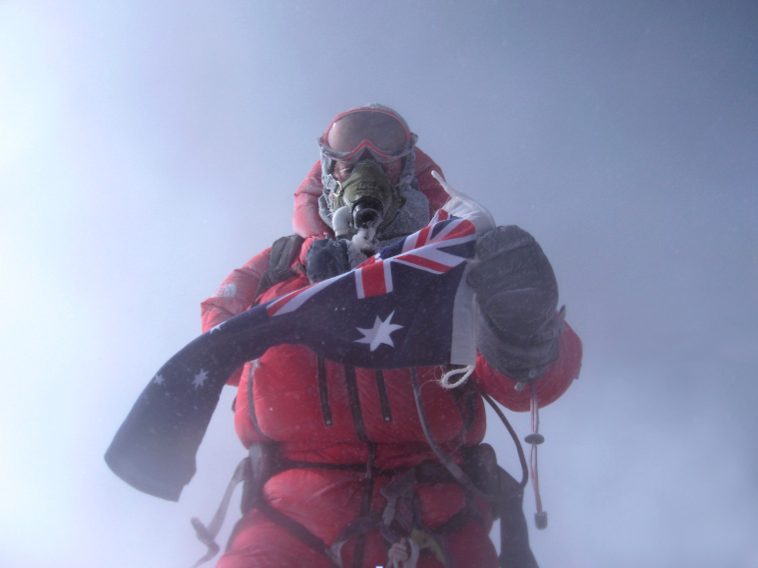 Paul Hockey on the summit of Mount Everest