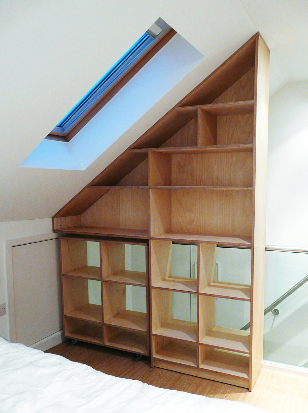 'Wedge' loft room shelving birch plywood 2.jpg