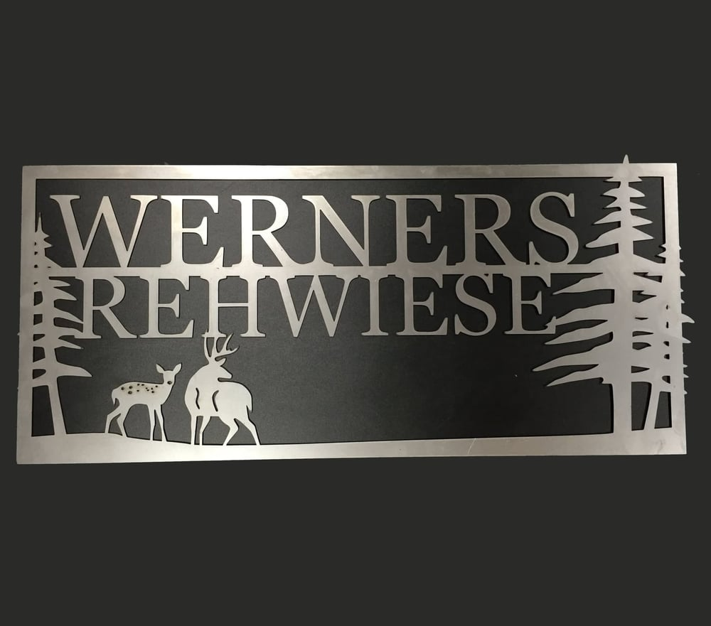 Laser cut custom metal sign