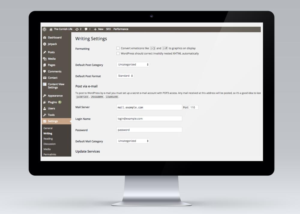 Wordpress back-end example