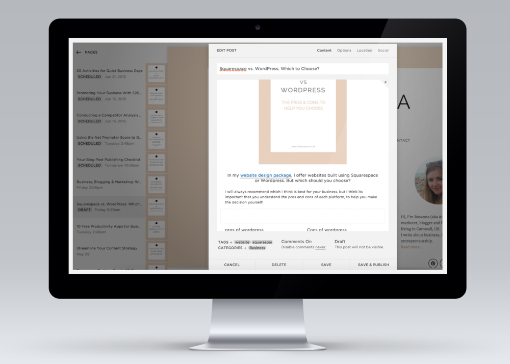 Squarespace back-end example