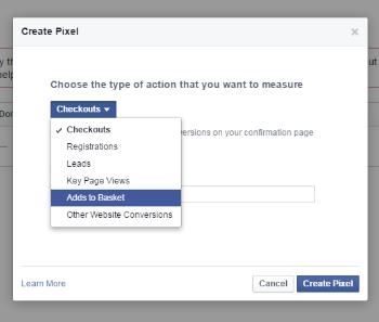 Conversion pixels in Facebook ads