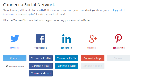Connecting accounts in Buffer (social media management made simple)