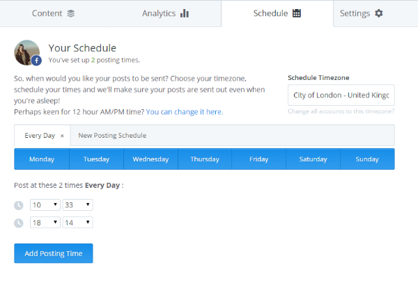 Setting up a schedule in Buffer (simple social media management)