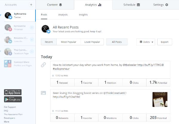 Buffer analytics (social media management made simple)