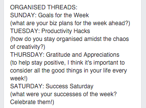 Facebook Groups Organised Threads
