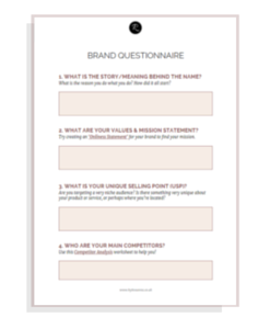 Brand Questionnaire worksheet