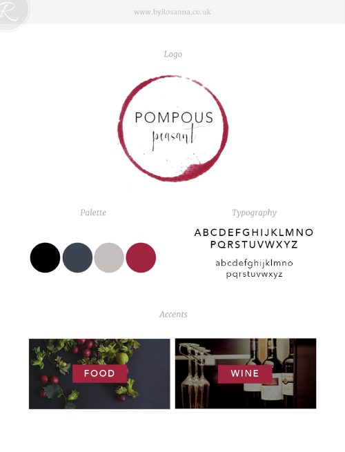 Pompous Peasant brand board (logo, typography & colour scheme)