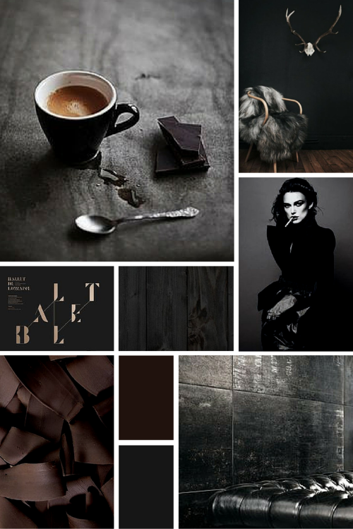Midweek Moodboard #5: Black Coffee (deep chocolate brown, grey and black colour palette for design inspiration)