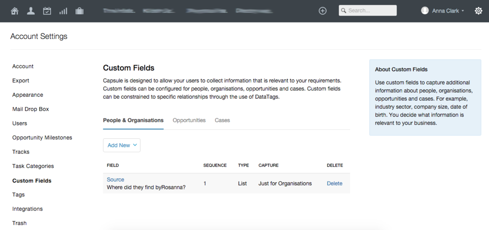 Custom fields in Capsule CRM