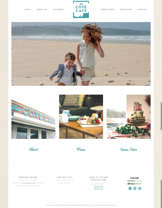 Cove Cafe website design byRosanna