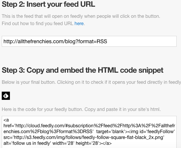 Feedly button URL
